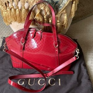 Authentic GUCCI Dome Red Guccissima Patnet Leather